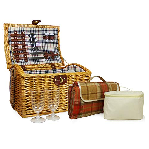 Charmanter Picknickkorb Für 2 Personen Mit Kühltasche - Die Geschenk Idee Zur Hochzeit, Geburtstag, Jubiläum