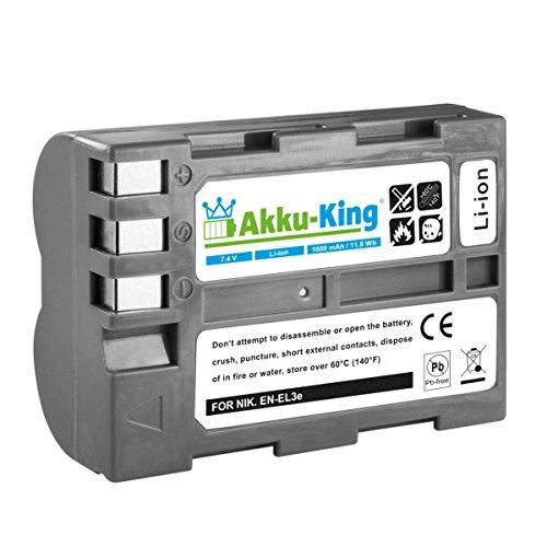 Akku-King Akku kompatibel mit Nikon EN-EL3e, EN-EL3e-2 - Li-Ion 1600mAh - für D700, D50, D100, D90, D80, D300, D70, D70s, D200, D300S, D900