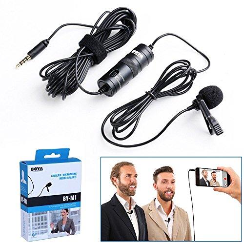 BOYA by by-m1omnidirektional Kondensatormikrofon/Lavalier-Mikrofon mit Revers Clip für DSLR-Kamera/Smartphone/Camcorder/Audio Blockflöten–Schwarz