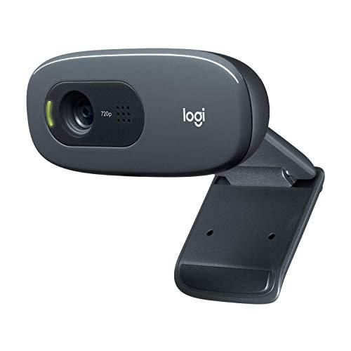 Logitech C270 Webcam, HD 720p, 60° Sichtfeld, Fester Fokus, Belichtungskorrektur, USB-Anschluss, Rauschunterdrückung, Universalhalterung, Für Skype, FaceTime, Hangouts, etc., PC/Mac/Android/Chromebook