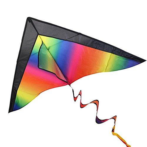 Drachen für Kinder und Erwachsen - Dauerhaft Regenbogen Drachen für Anfänger mit 60m Drachenschnur, Griff und 3 Verschiedene Schwänze, 120cm x 60cm