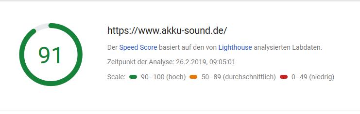 Ergebnis Pagespeed Webseite